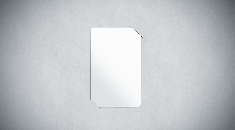 Blank white paper card holder mock up top view